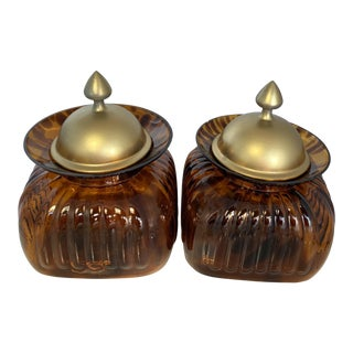 Vintage Fluted Amber Tortoise Pattern Glass and Pewter Lid Canister Jars - a Pair For Sale