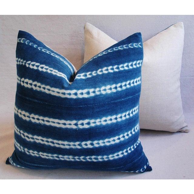 Indigo Blue Boho Chic African Mali Mud Cloth Tribal Textile Pillows - Pair - Image 11 of 11
