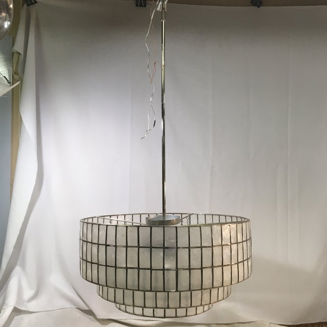 2010s West Elm Three-Light Tiered Modern Chandelier Light For Sale - Image 5 of 11