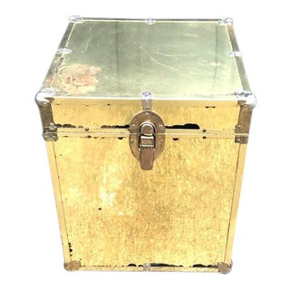Hollywood Regency Brass Trunk Side Table / Nightstand For Sale
