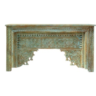 Rustic Blue Arch Carved Distressed Console For Sale