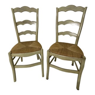 Late 20th Century Ladder Back Chairs - a Pair For Sale