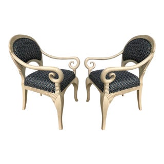 1980s Hollywood Regency Style Chairs - a Pair For Sale