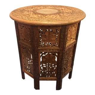 Moroccan Style Hand Carved Teak Tabouret Table For Sale