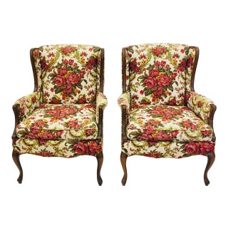 Vintage Floral Chintz Armchairs - A Pair