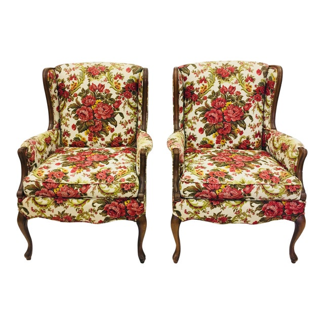 Vintage Floral Chintz Armchairs - A Pair For Sale