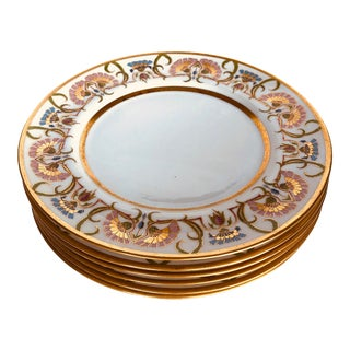 "Art Nouveau Limoges Dinner Plates (6) Henry Kohn & Sons Gilded High Style 10.5"" For Sale"