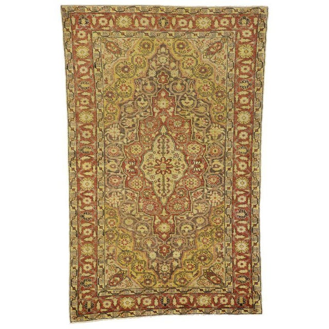 Textile 20th Century Rustic Turkish Oushak Accent Rug - 4′4″ × 6′10″ For Sale - Image 7 of 7