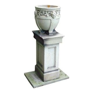 Early 20th Century Vintage Stoneware Lefco Urn on Pedestal For Sale