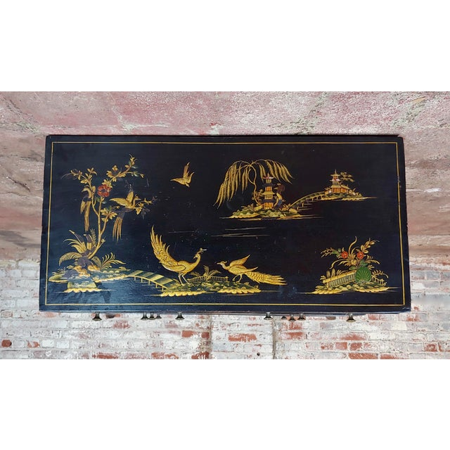 Paint Antique English Chinoiserie Black Lacquered Five-Drawer Chest For Sale - Image 7 of 11