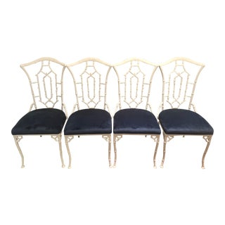 White Faux Bamboo & Blue Velvet Dining Chairs - Set of 4 For Sale