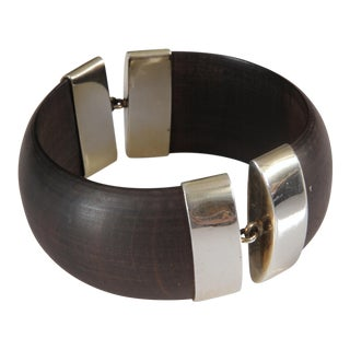 Sterling and Ebony Wood Bangle Bracelet For Sale