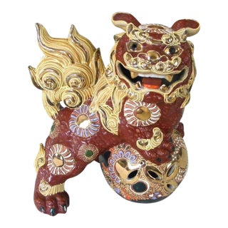 Vintage Red and Gilded Japanese Foo Dog For Sale