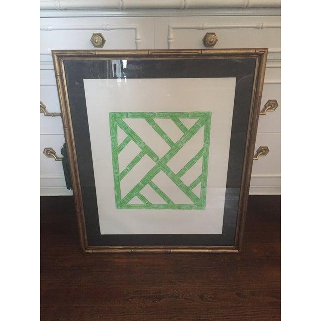 Chalk Palm Beach Regency Faux Bamboo Framed Trellis Art For Sale - Image 7 of 10
