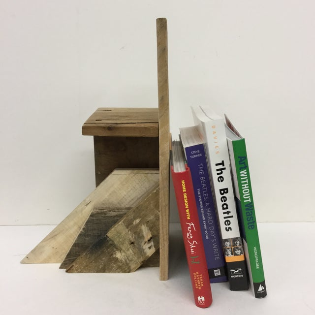 Display your books in style with this artisanal industrial wood bookend. Show off a favorite item on the little shelf or...