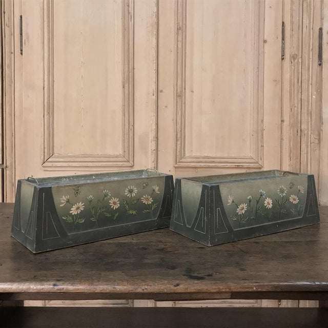 Pair French Art Deco Painted Jardinieres / Planter Boxes For Sale - Image 10 of 13