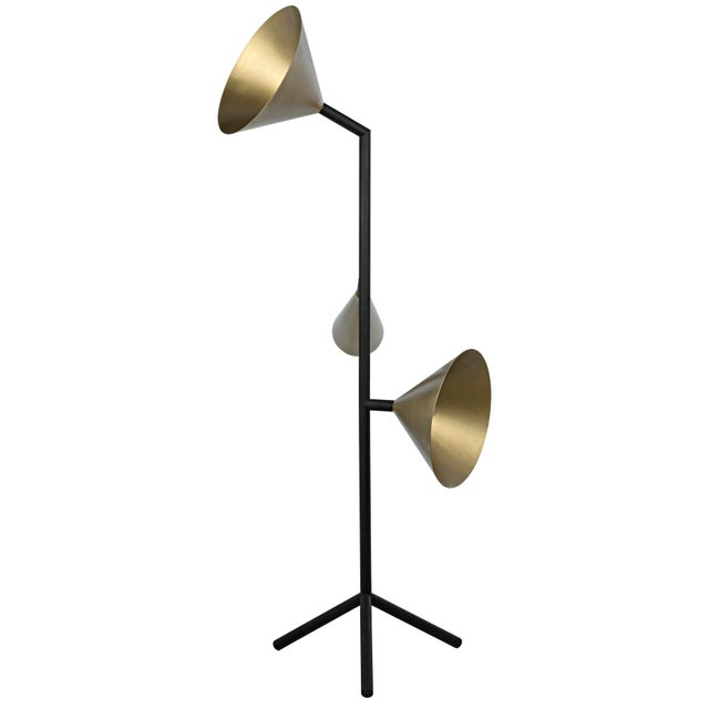 When one spotlight just isn't enough, this lamp provides three. With a black base and pole, and antique brass finishes...