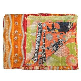 Vintage Orange Kantha Quilt For Sale