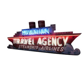 "1930s ""Hawaiian Travel Agency"" Ocean Liner Neon Sign For Sale"
