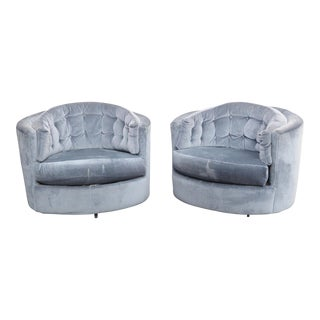 Vintage Tufted Swivel Blue Club Chairs - A Pair