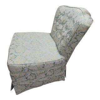 1950 Mid Century Upholstered Brocade Slipper Chair For Sale