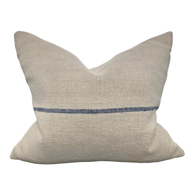 White 19th Century French Grain Sack Pillow For Sale - Image 8 of 8