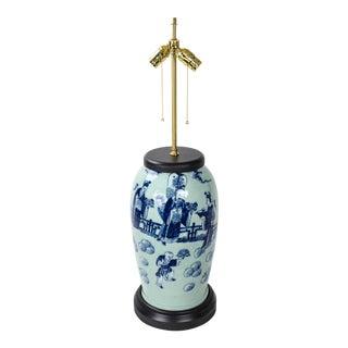 Vintage Celadon Hand-Painted Porcelain Table Lamp For Sale