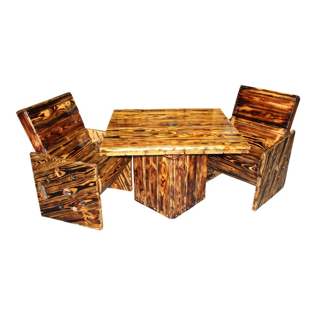 Brown Rustic Wooden Out Door Patio Dining Set - 3 Pieces For Sale - Image 8 of 8