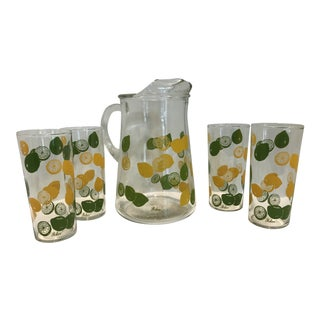 1970s Realism Lemon Lime Pitcher and 4 Glass Set - 5 Pieces