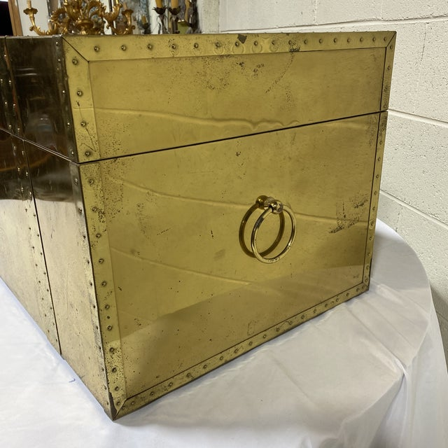 1970s Vintage Brass Trunk For Sale - Image 5 of 13