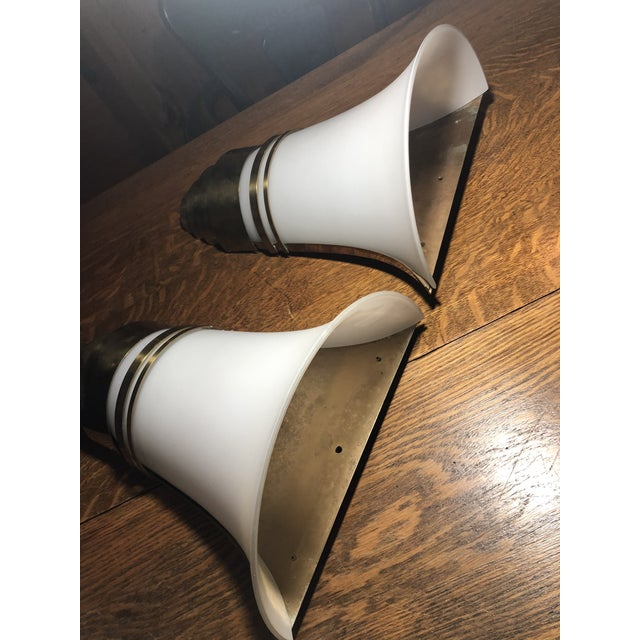 Vintage Art Deco Gold and White Glass Theatre Sconces - a Pair For Sale In Philadelphia - Image 6 of 13