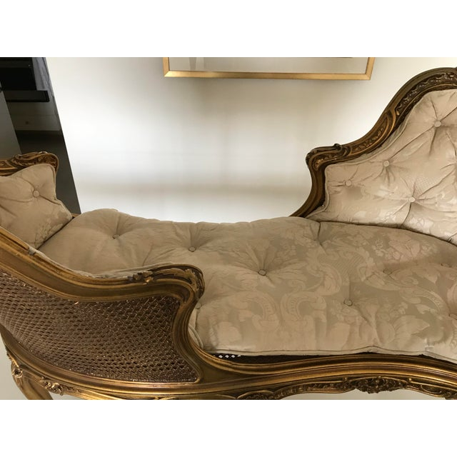 Early 20th Century Antique French Caned Tufted Tete' Te Settee For Sale - Image 12 of 13