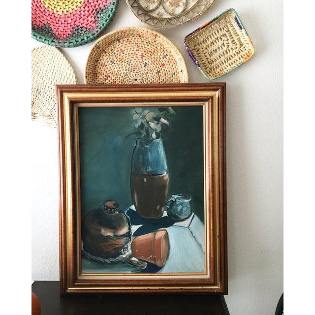 Vintage Dark Blue Still Life Framed Painting For Sale - Image 10 of 10
