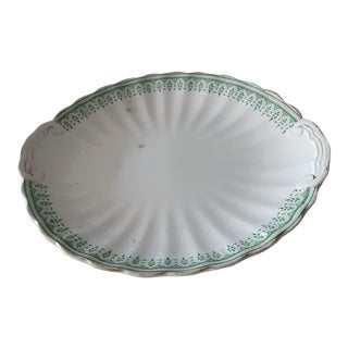 Green, White and Gilt English Platter For Sale