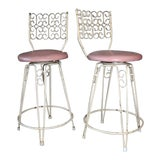 Image of Arthur Umanoff Mid-Century Wrought Iron Bar Stools - a Pair For Sale