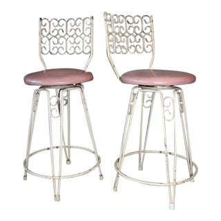 Arthur Umanoff Mid-Century Wrought Iron Bar Stools - a Pair For Sale