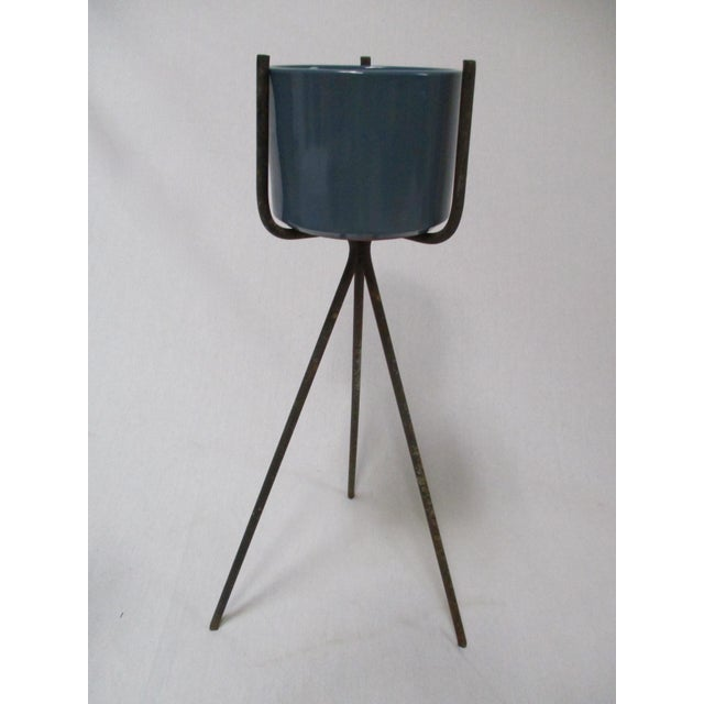 Mid-Century Modern Gainey Blue Pot & Iron Tripod Stand - Image 5 of 11