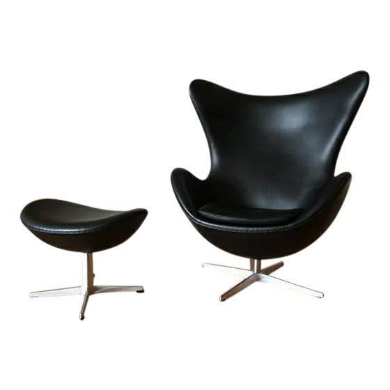 Arne Jacobson for Fritz Hansen Egg Easy Chair & Footstool - Image 1 of 9