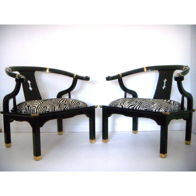 Black Lacquer Ming Style Arm Chairs - a Pair - Image 2 of 5