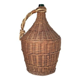 French Wicker Wrapped Demijohn For Sale