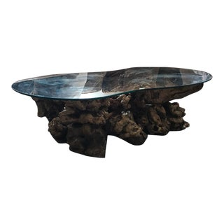 Mid Century Modern Live Burl Teak Coffee Table For Sale