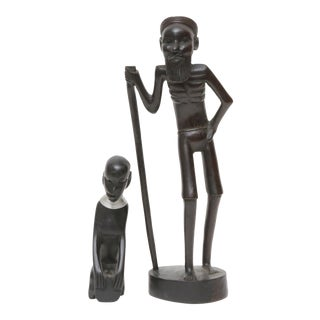 Tribal Wood Figurines - Set of 2 For Sale