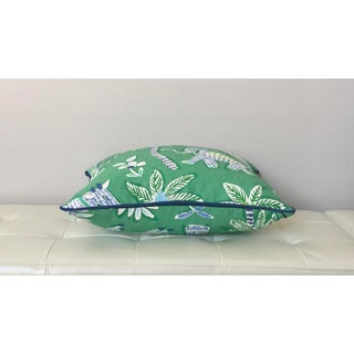 Thibaut Goa in Green Designer Pillow Cover With Marine Blue Linen Piping Preview