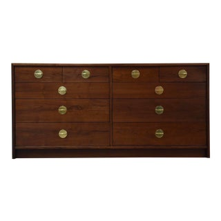 1950s Mid-Century Modern Walnut and Brass Dresser For Sale