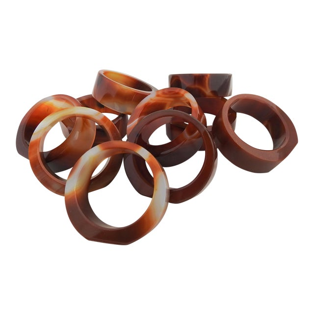 Agate Napkin Rings- Set of 10 For Sale