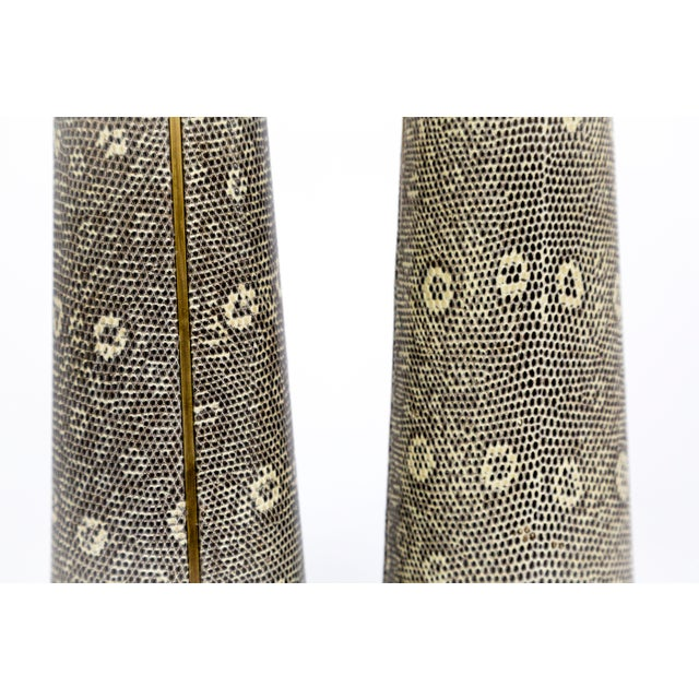 Lizard Skin & Bronze Borrego Lamps by Tuell + Reynolds - a Pair For Sale In San Francisco - Image 6 of 12