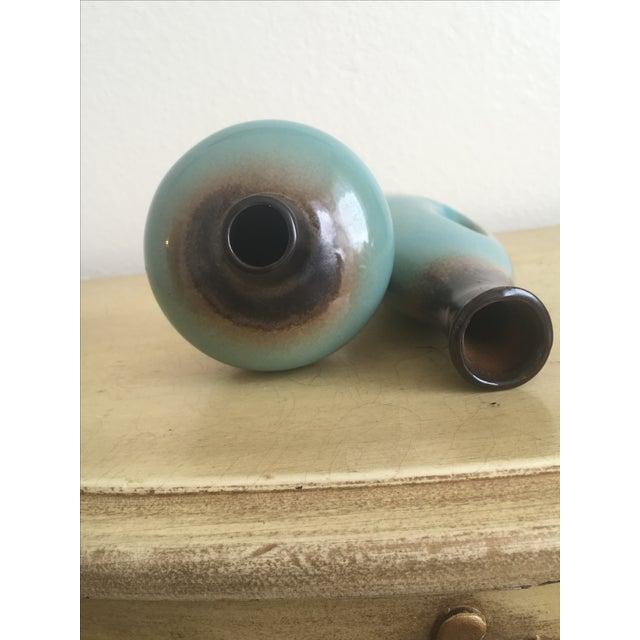Navajo Southwestern Teal Ombré Bud Vases - Pair - Image 6 of 7