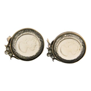 Extasia Round Intaglio Glass Roped Cameo Clip Earrings For Sale