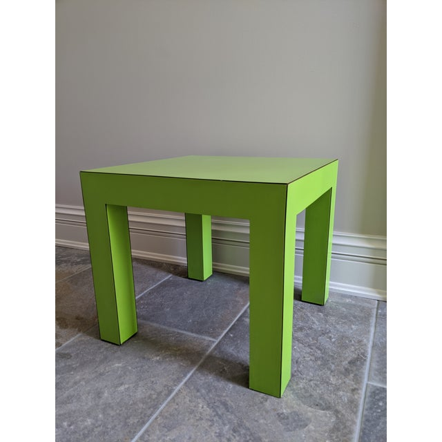 Mid-Century Modern 1980s Vintage Milo Baughman Style Lime Green Laminate Parsons Side Table For Sale - Image 3 of 9
