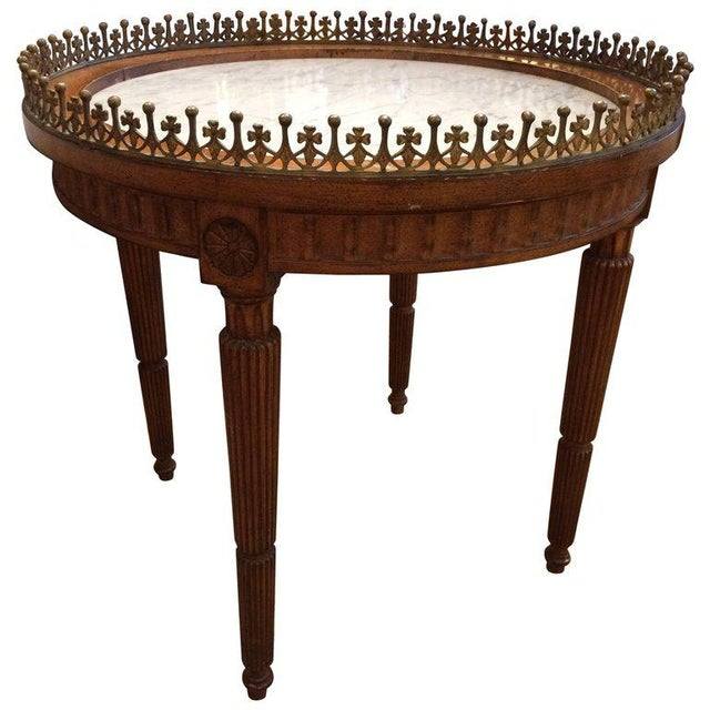French Carved Wood & Marble Cocktail Side Table - Image 9 of 9